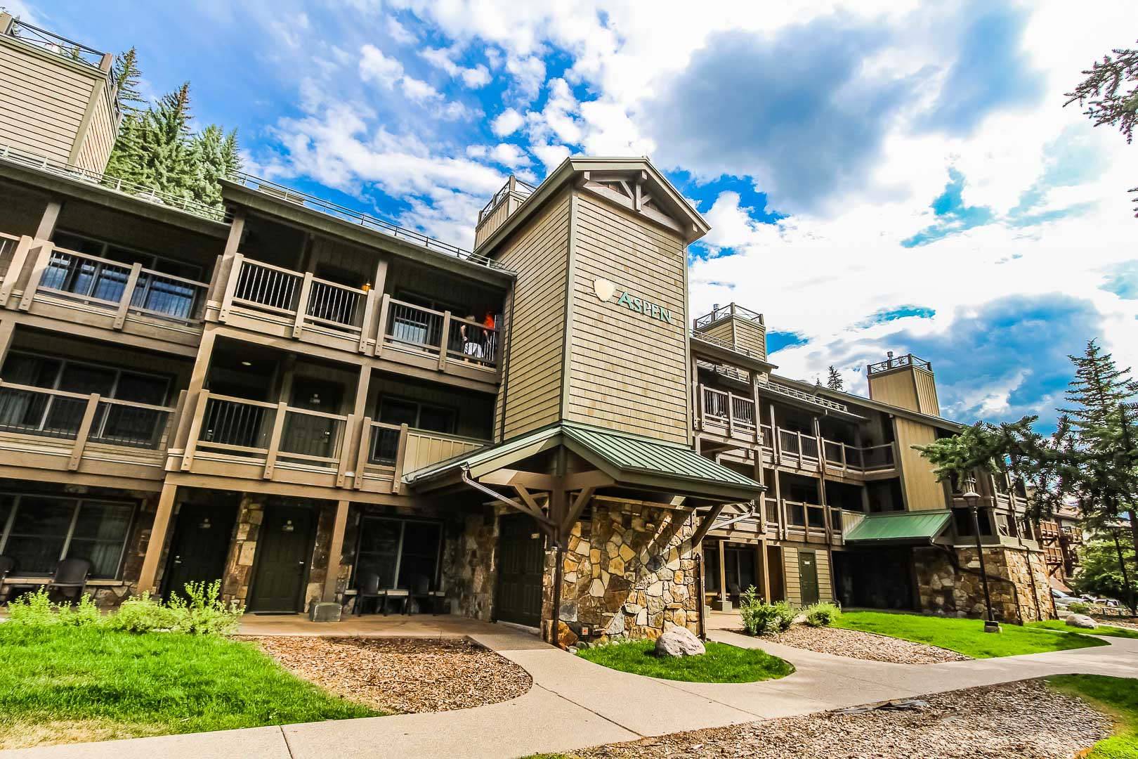 A stoic resort building at VRI's Aspen at Streamside in Colorado.