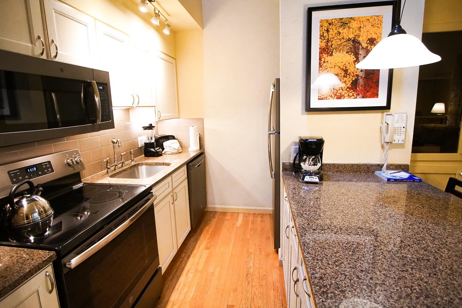 A modernized kitchen area at VRI's Aspen at Streamside in Colorado.