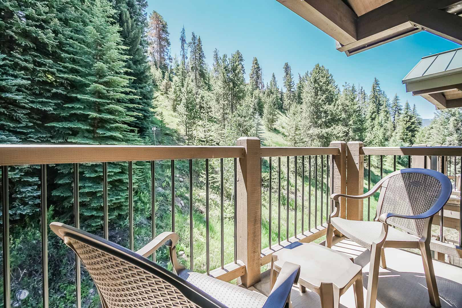 A breathtaking balcony view at VRI's Aspen at Streamside in Colorado.