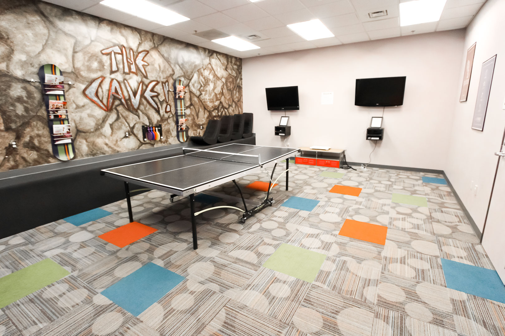 A colorful game room at VRI's Aspen at Streamside in Colorado.