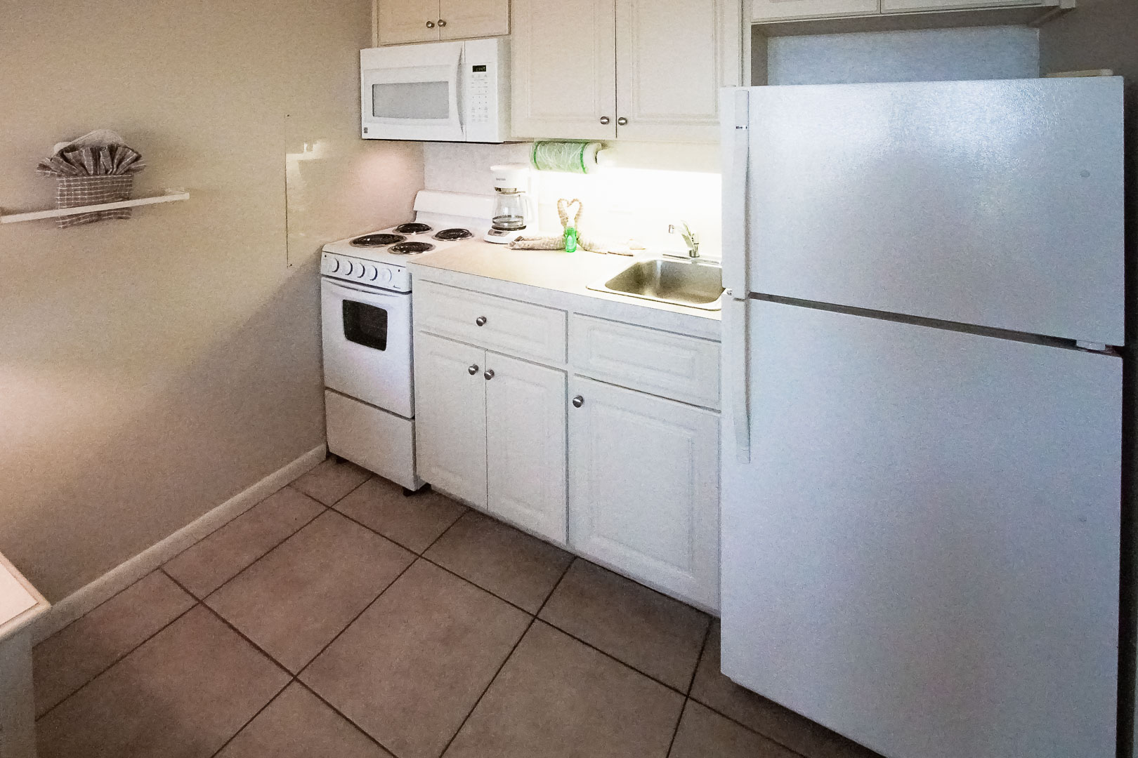 A small kitchen area at VRI's Bonita Resort and Club in Florida.