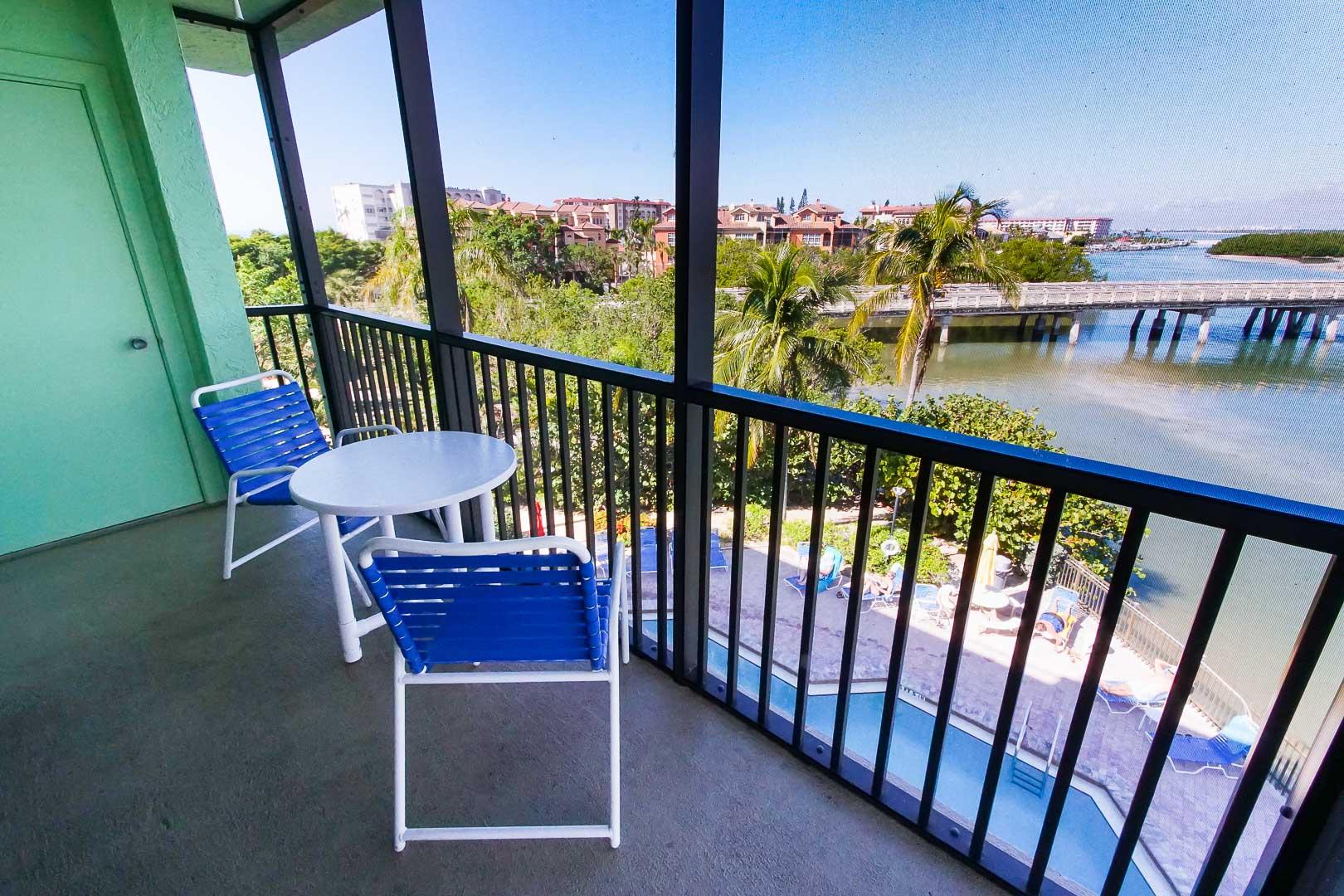 A beautiful beach front balcony at VRI's Bonita Resort and Club in Florida.