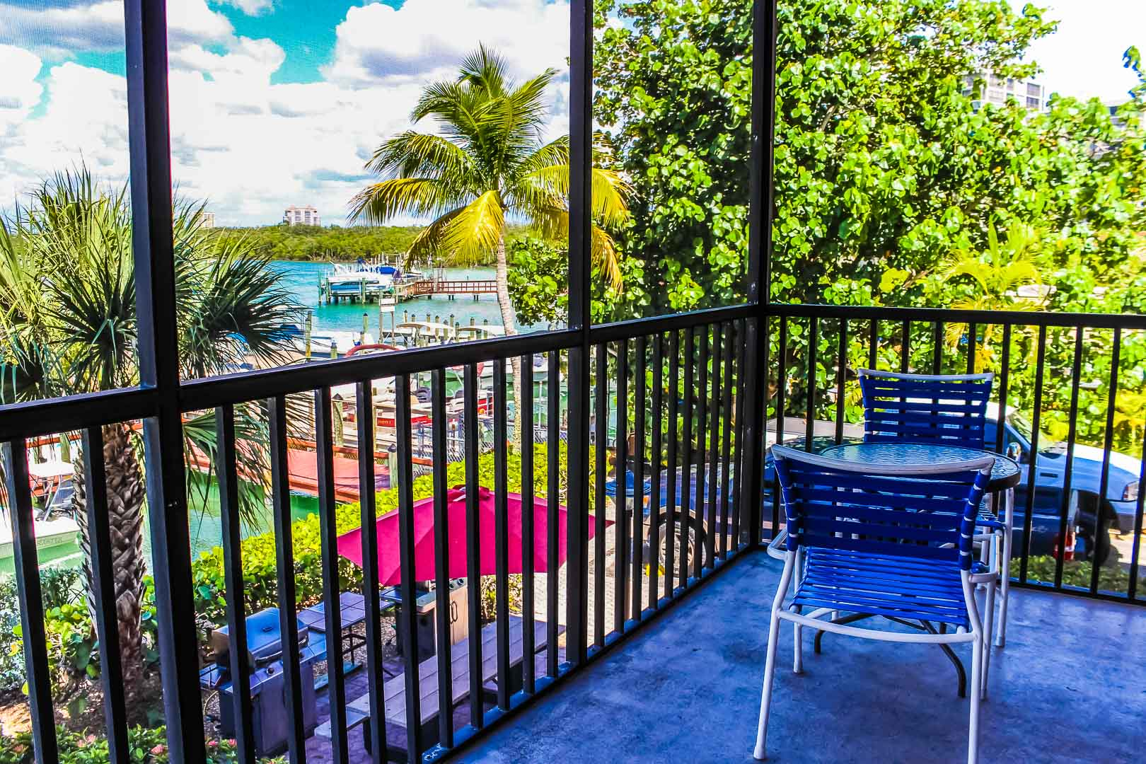 A vibrant balcony view at VRI's Bonita Resort and Club in Florida.