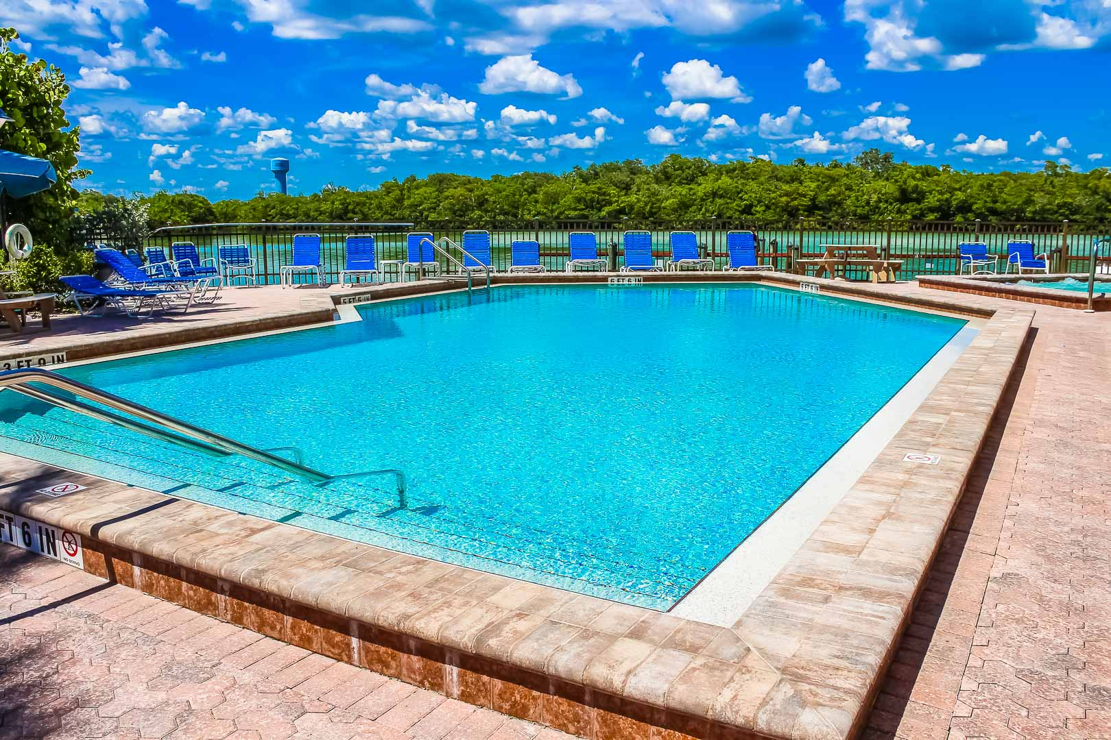 A crisp outdoor swimming pool at VRI's Bonita Resort and Club in Florida.