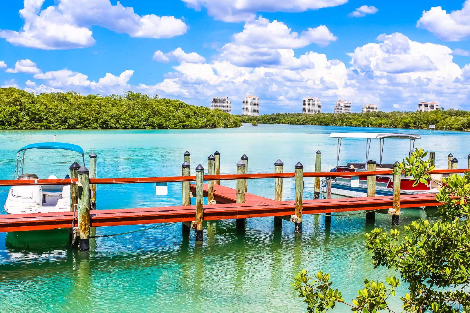 A Boat Dock from VRI's Bonita Resort and Club in Florida.