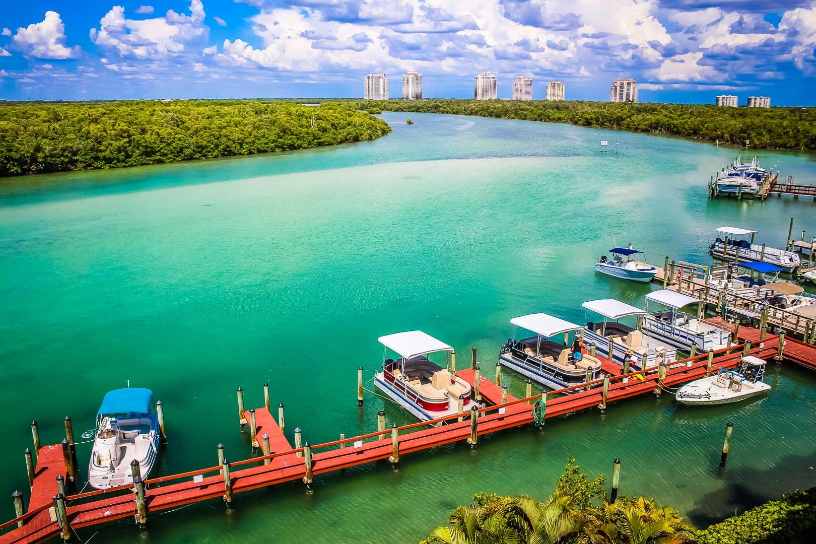 A scenic view of the boat dock at VRI's Bonita Resort and Club in Florida.