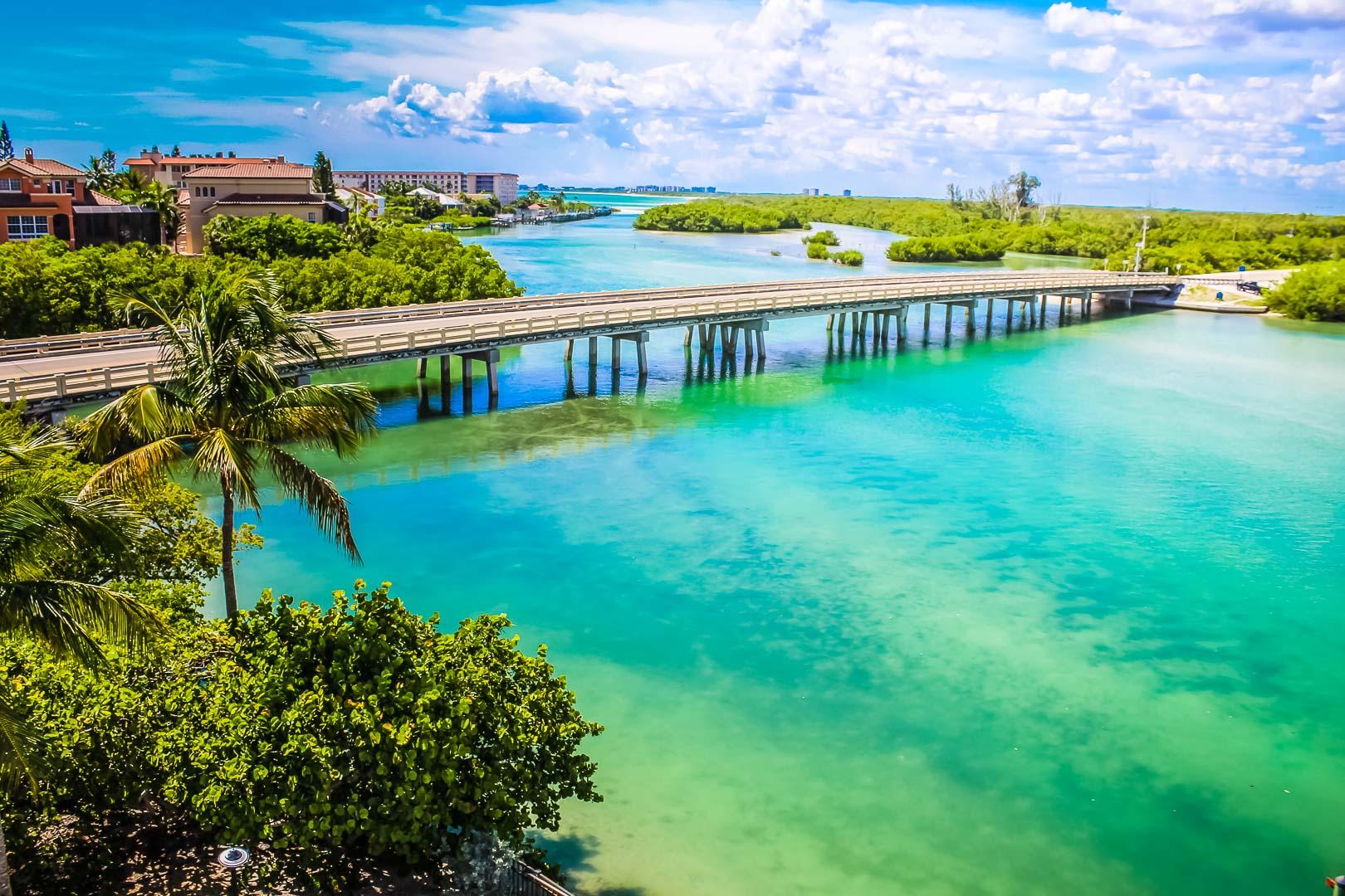 A scenic view of the beach at VRI's Bonita Resort and Club in Florida.