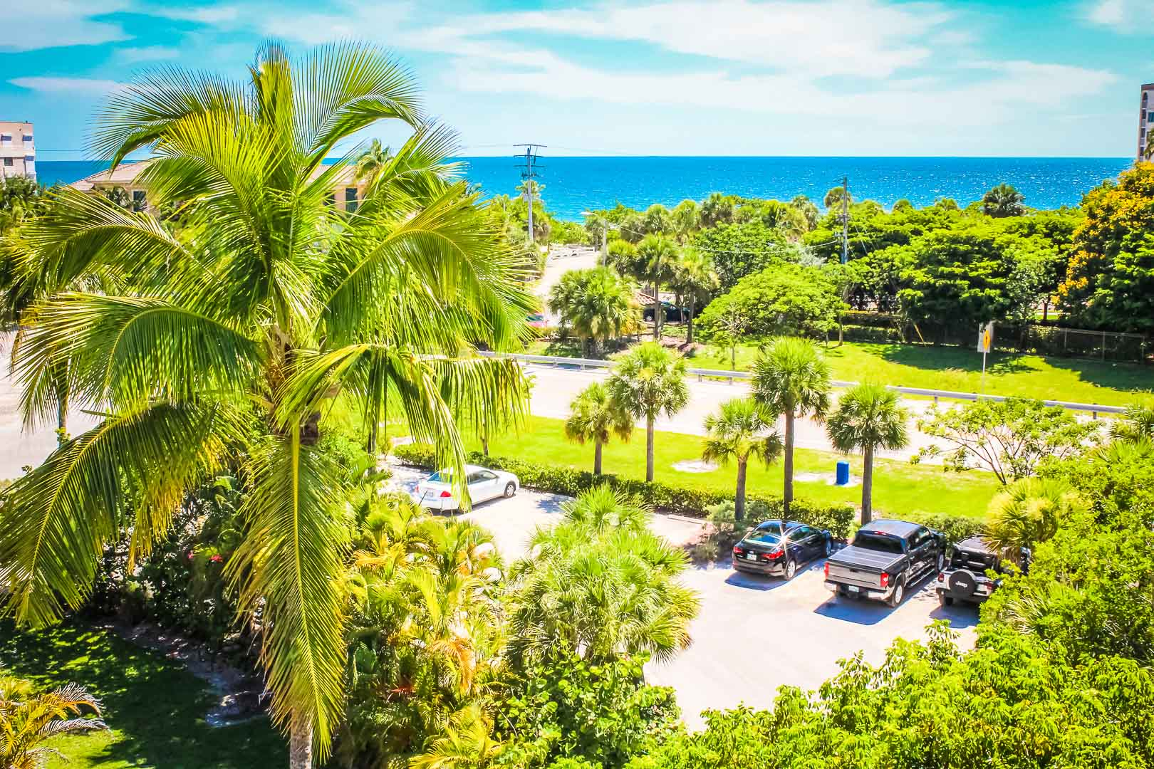 A nature filled view to the beach at VRI's Bonita Resort and Club in Florida.