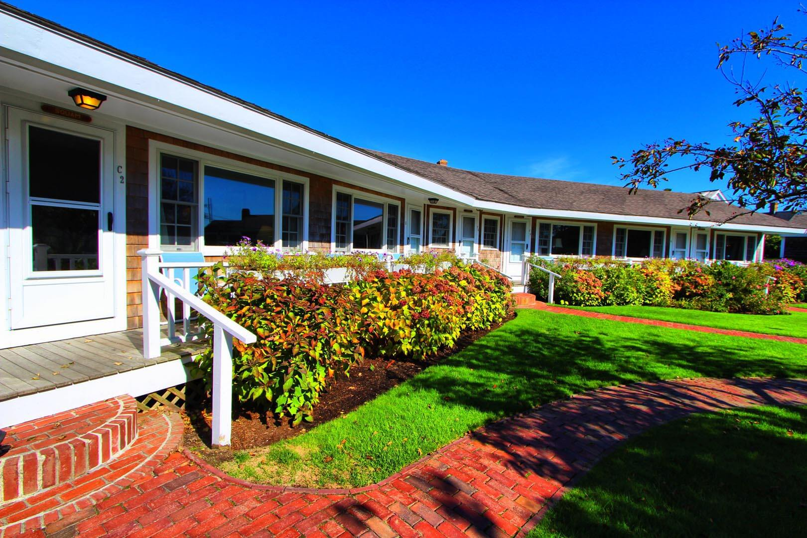 A beautiful unit entrance at the Brant Point Courtyard in Massachusetts.