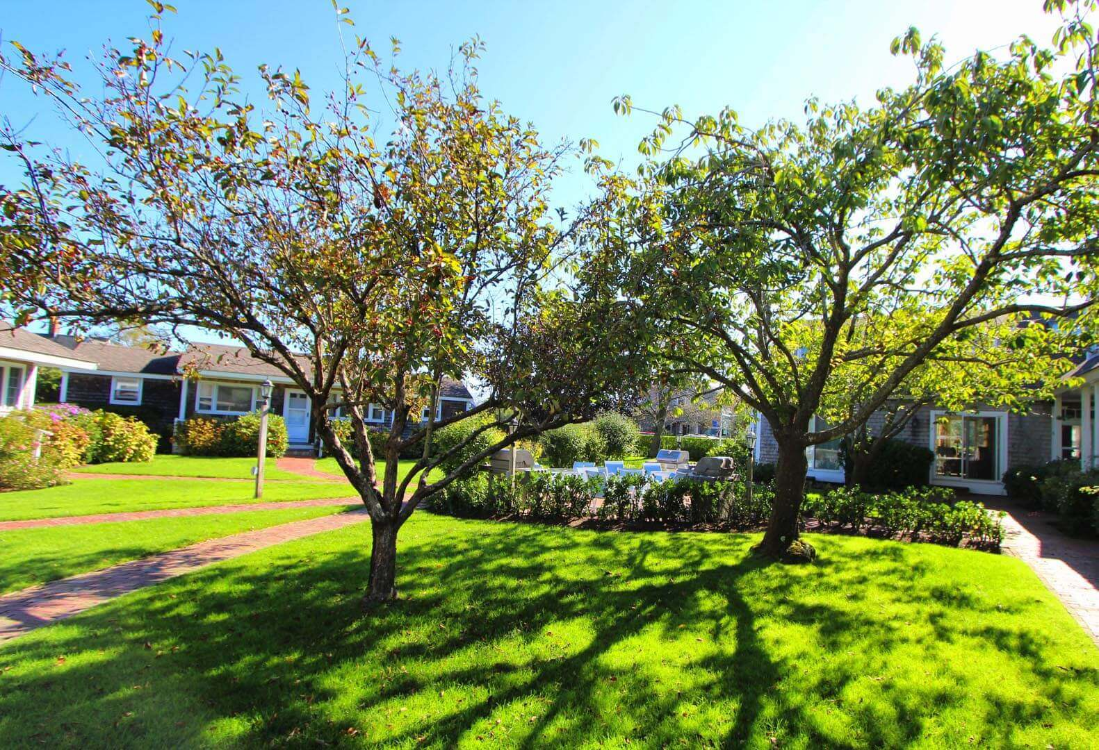 A scenic view of the patio area at VRI's Brant Point Courtyard in Massachusetts.