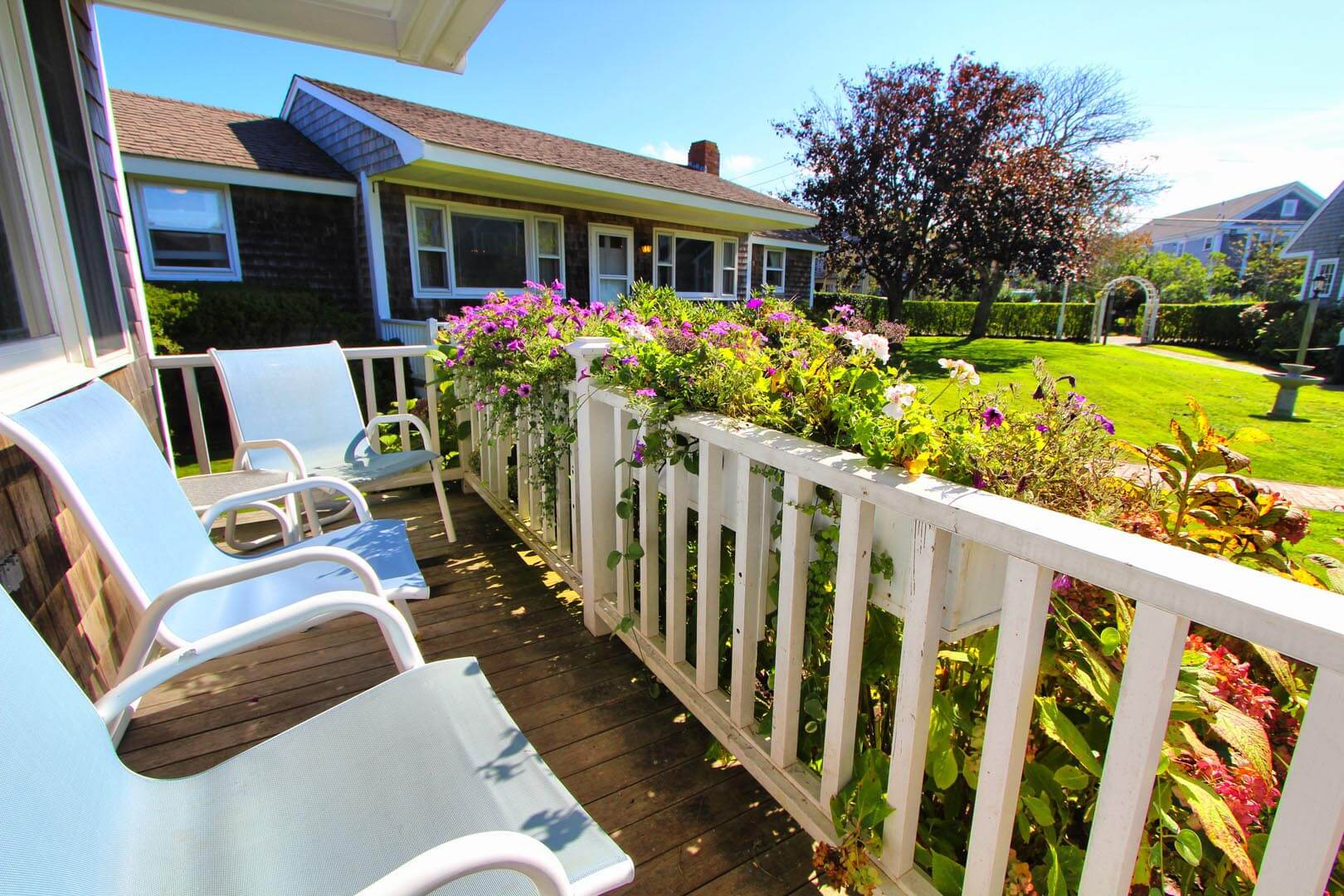 A relaxing view from the patio deck at VRI's Brant Point Courtyard in Massachusetts.