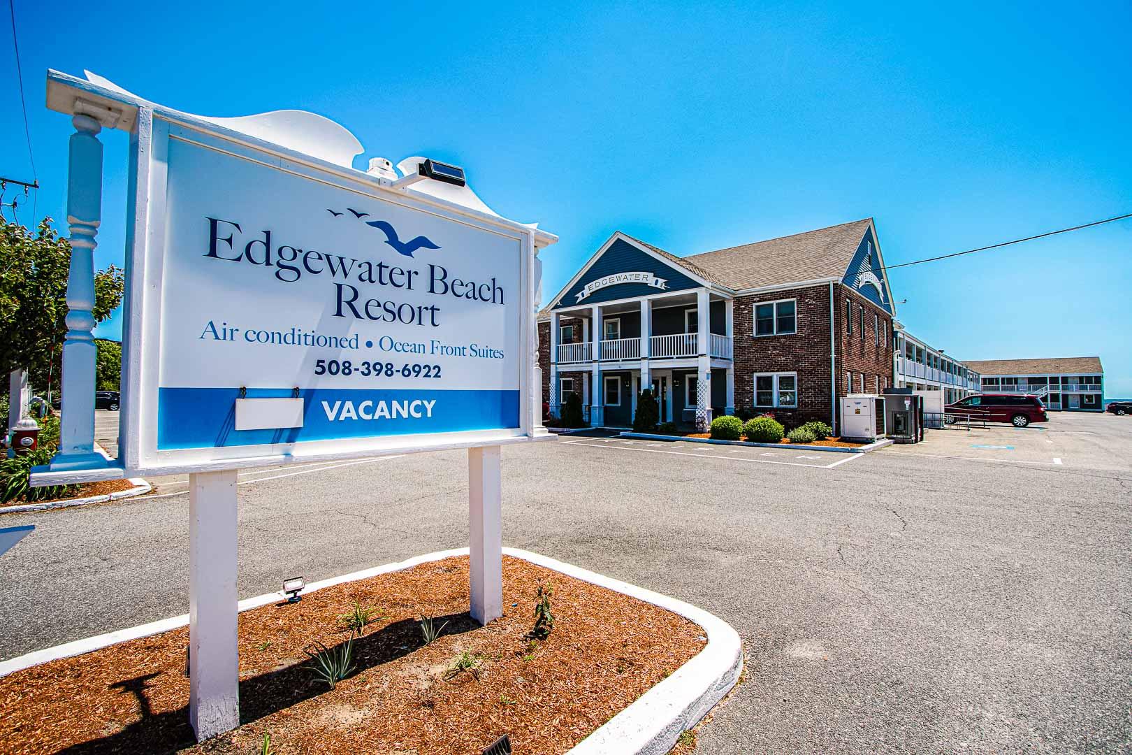 A stoic resort entrance at VRI's Edgewater Beach Resort in Massachusetts.