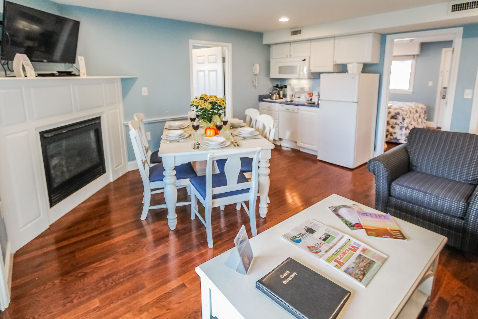 A cozy living and dining room area  at VRI's Edgewater Beach Resort in Massachusetts.