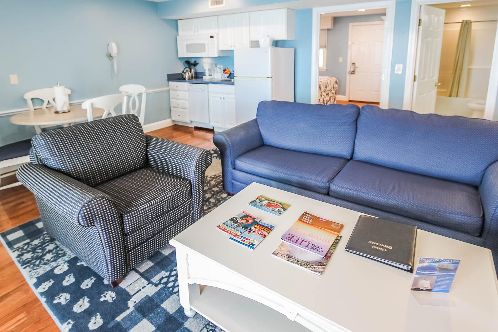 A beachy master bedroom at VRI's Edgewater Beach Resort in Massachusetts.