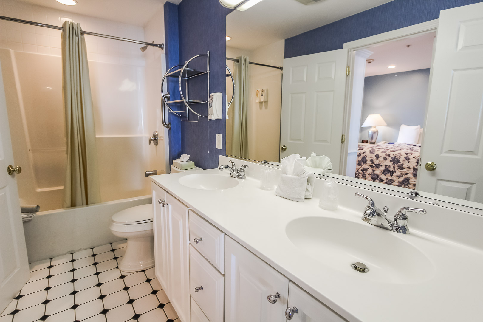 A crisp bathroom at VRI's Edgewater Beach Resort in Massachusetts.