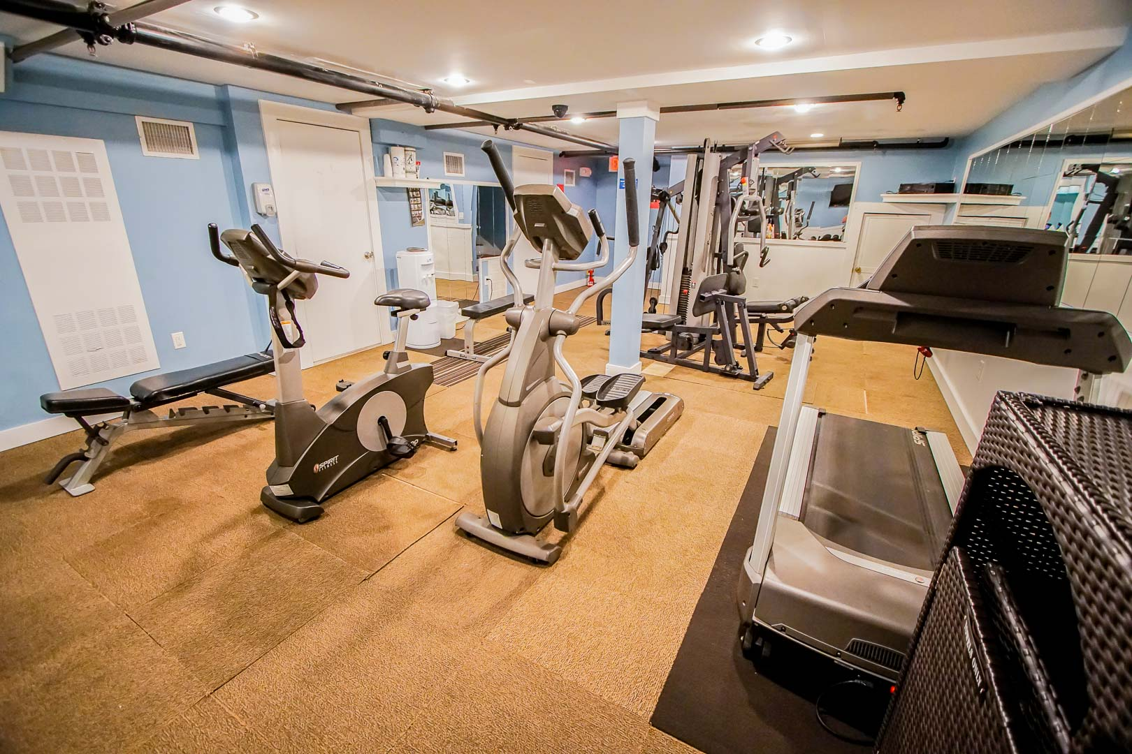 An expansive exercise room at VRI's Edgewater Beach Resort in Massachusetts.