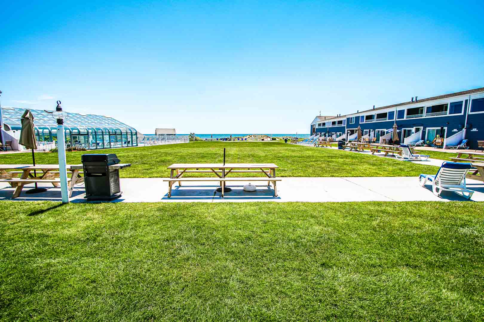 BBQ grills available in the patio area at VRI's Edgewater Beach Resort in Massachusetts.
