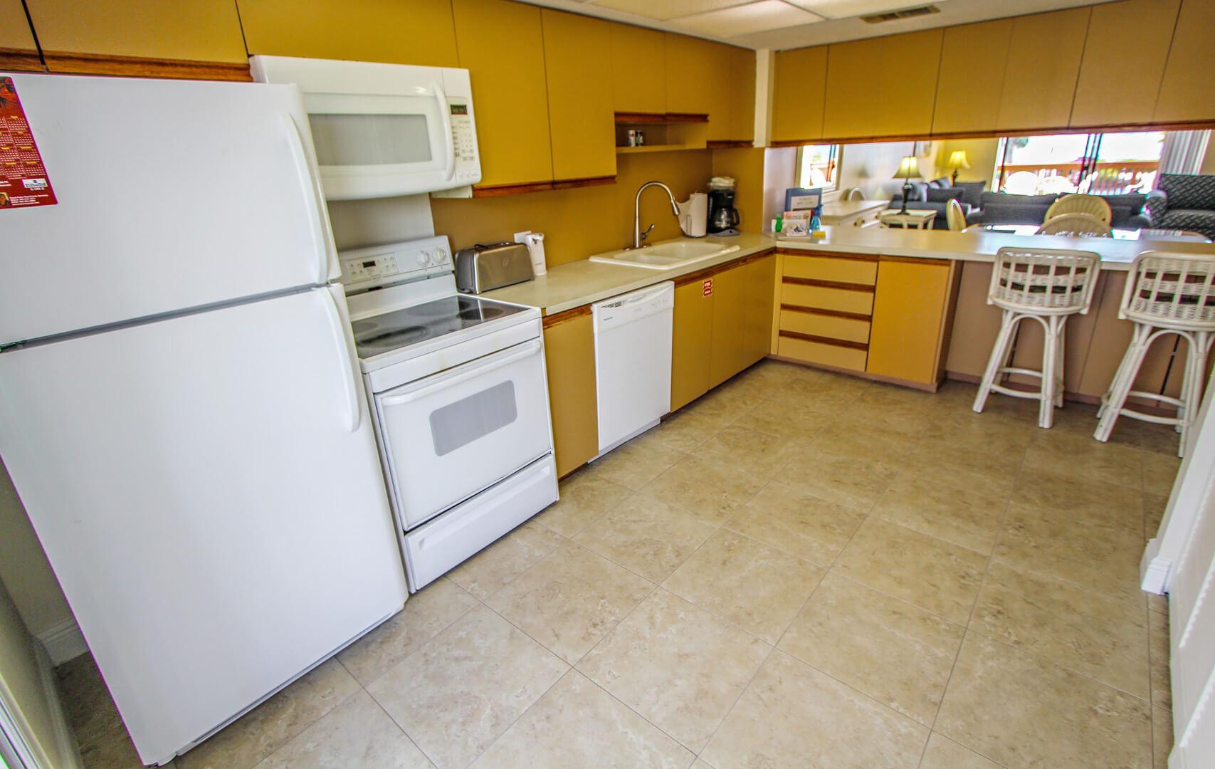 A standard full kitchen at VRI's Florida Bay Club in Florida.