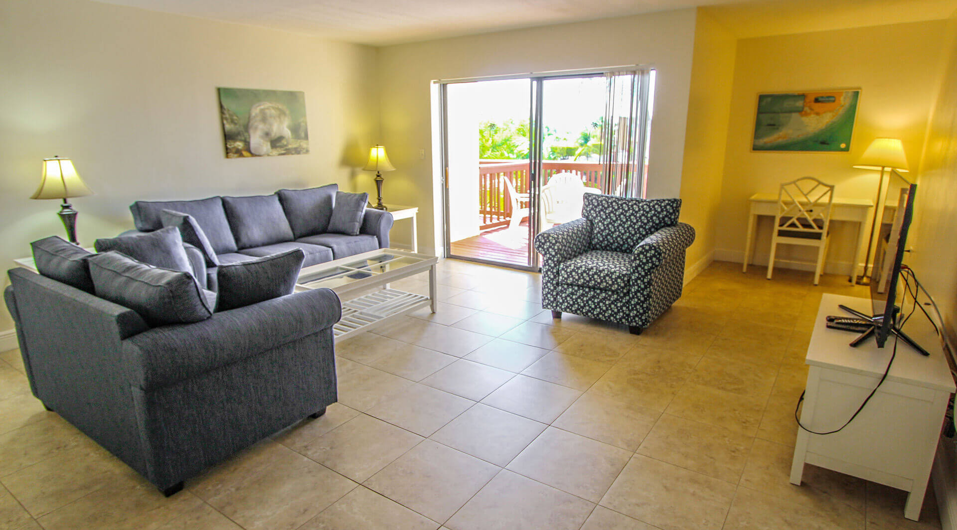 An expansive living room area at VRI's Florida Bay Club in Florida.