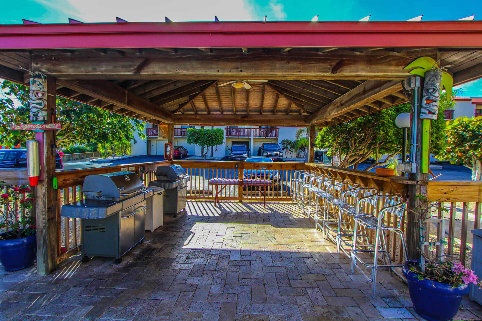 A pleasant BBQ Grill area VRI's Florida Bay Club in Florida.