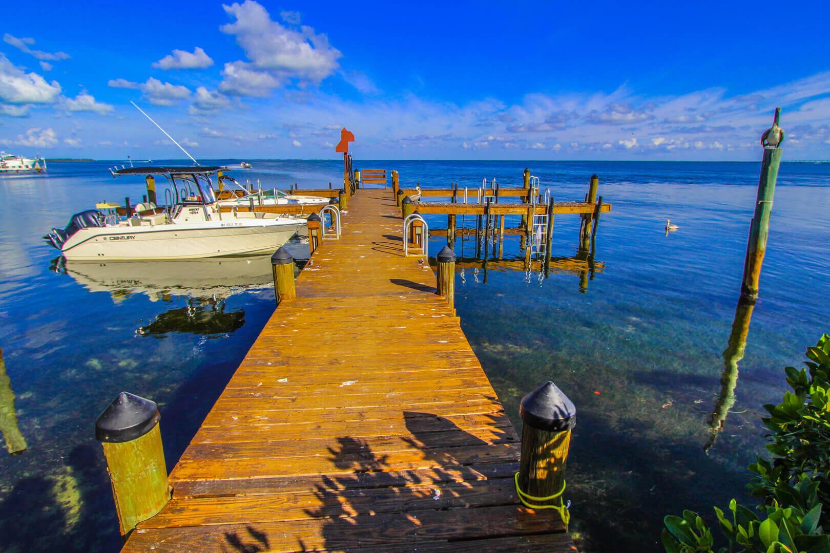 A scenic boat dock at VRI's Florida Bay Club in Florida.