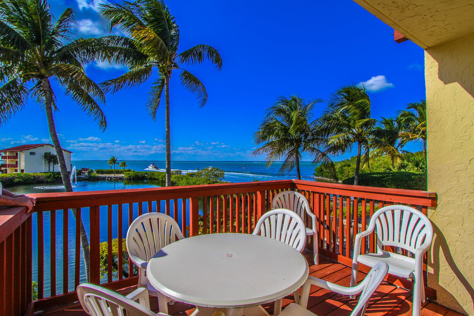 A pristine beach view from the balcony deck at VRI's Florida Bay Club in Florida.