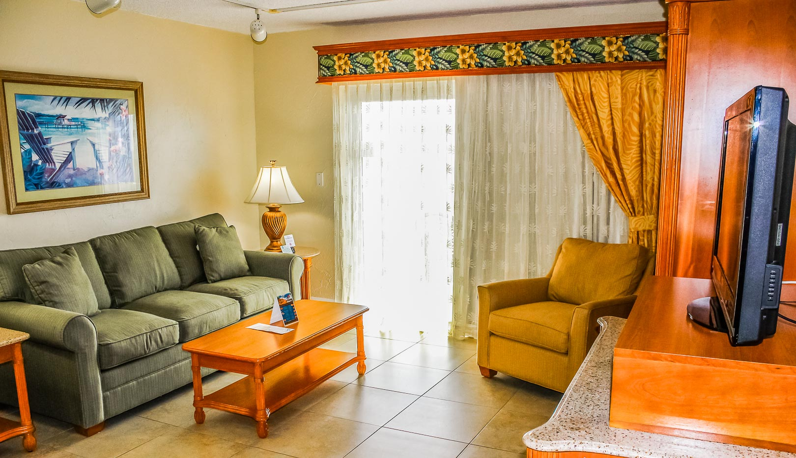A vibrant living room at VRI's Ft. Lauderdale Beach Resort in Florida.