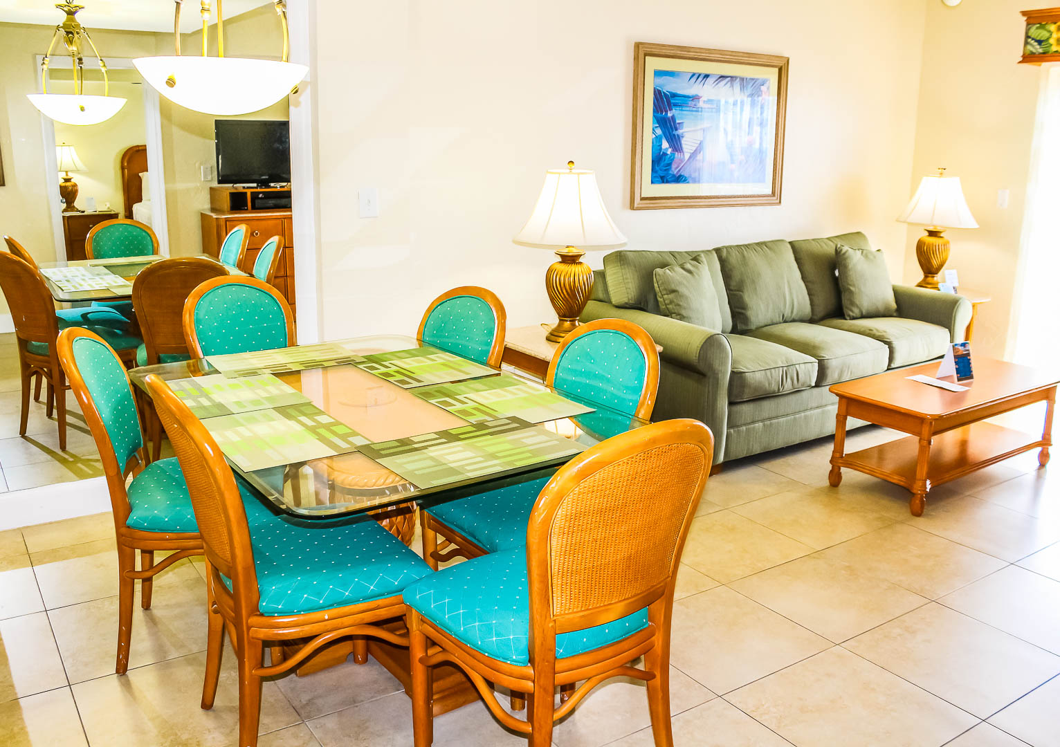A vibrant living and dining area at VRI's Ft. Lauderdale Beach Resort in Florida.