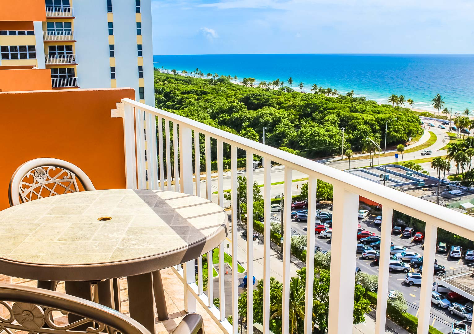 A balcony view to the beach at VRI's Ft. Lauderdale Beach Resort in Florida.