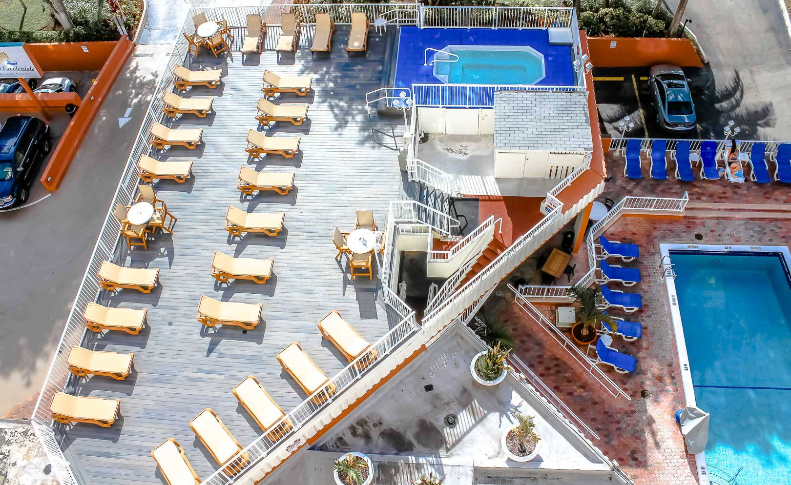 A view of the outside deck and the pool at VRI's Ft. Lauderdale Beach Resort in Florida.