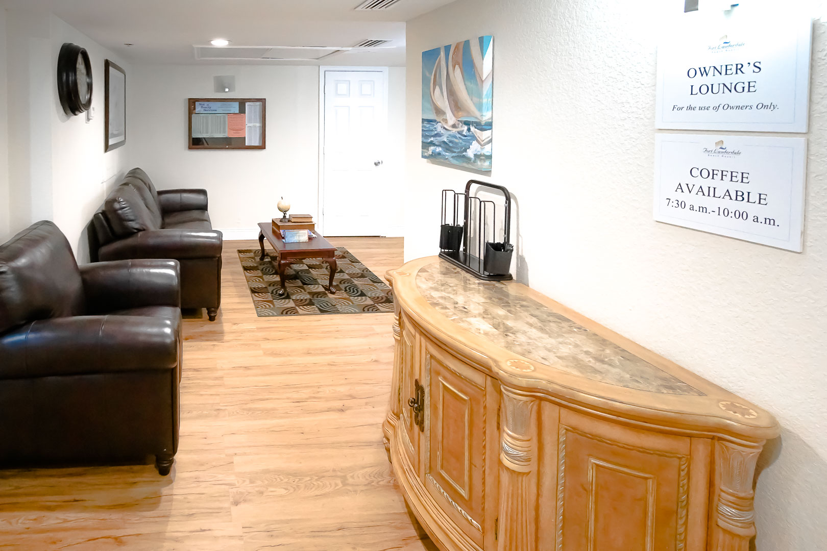 An Owners lounge at VRI's Ft. Lauderdale Beach Resort in Florida.