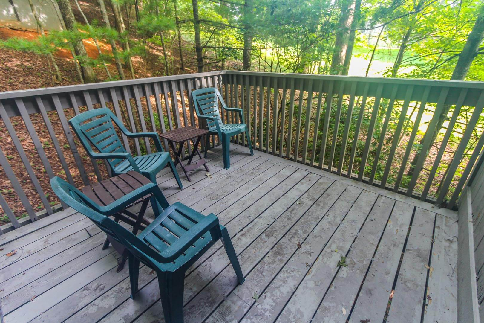 A nature filled balcony view at VRI's Golf Club Villas in Marble Hill, Georgia.