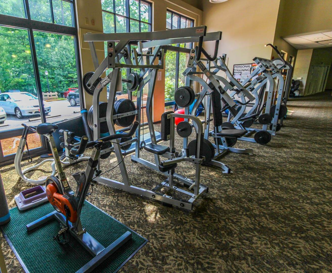A fully equipped exercise room at VRI's Golf Club Villas in Marble Hill, Georgia.