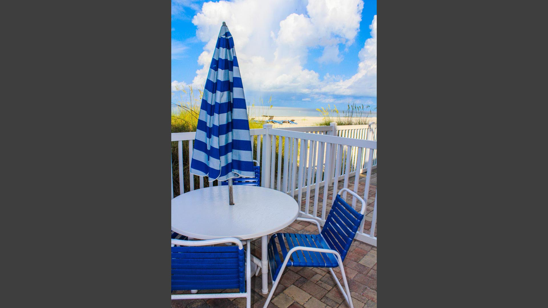 A balcony view to the beach at VRI's Island Gulf Resort in Madeira Beach, Florida.