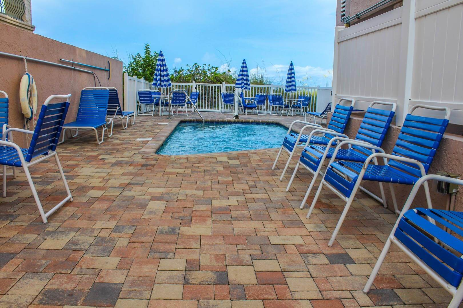 The outdoor swimming pool at VRI's Island Gulf Resort in Madeira Beach, Florida.