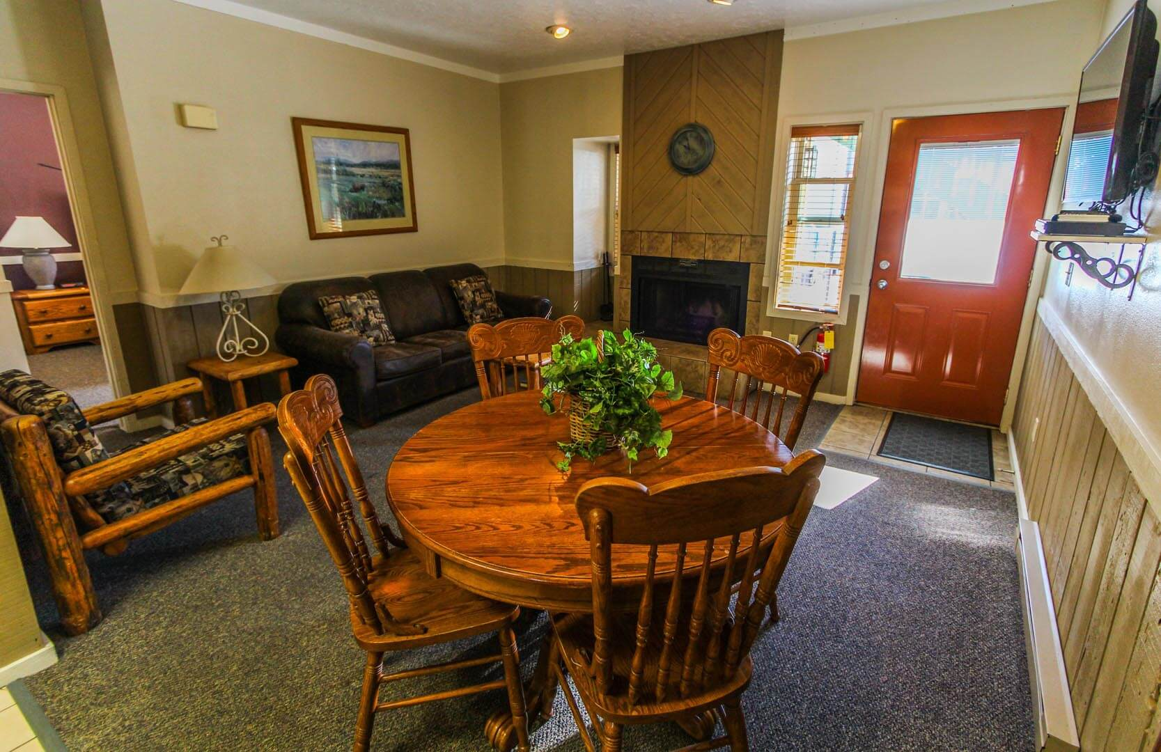 A cozy living room and dining room at VRI's Jackson Hole Towncenter in Wyoming.