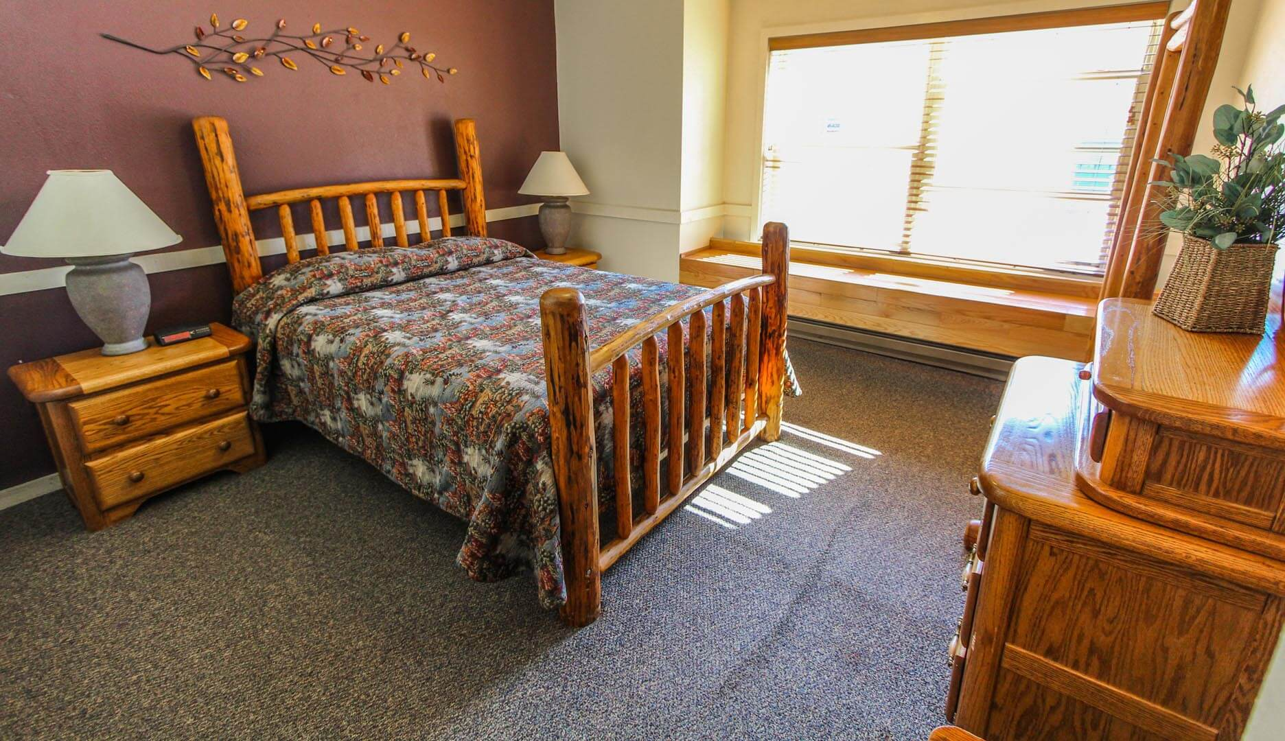 A master bedroom at VRI's Jackson Hole Towncenter in Wyoming.