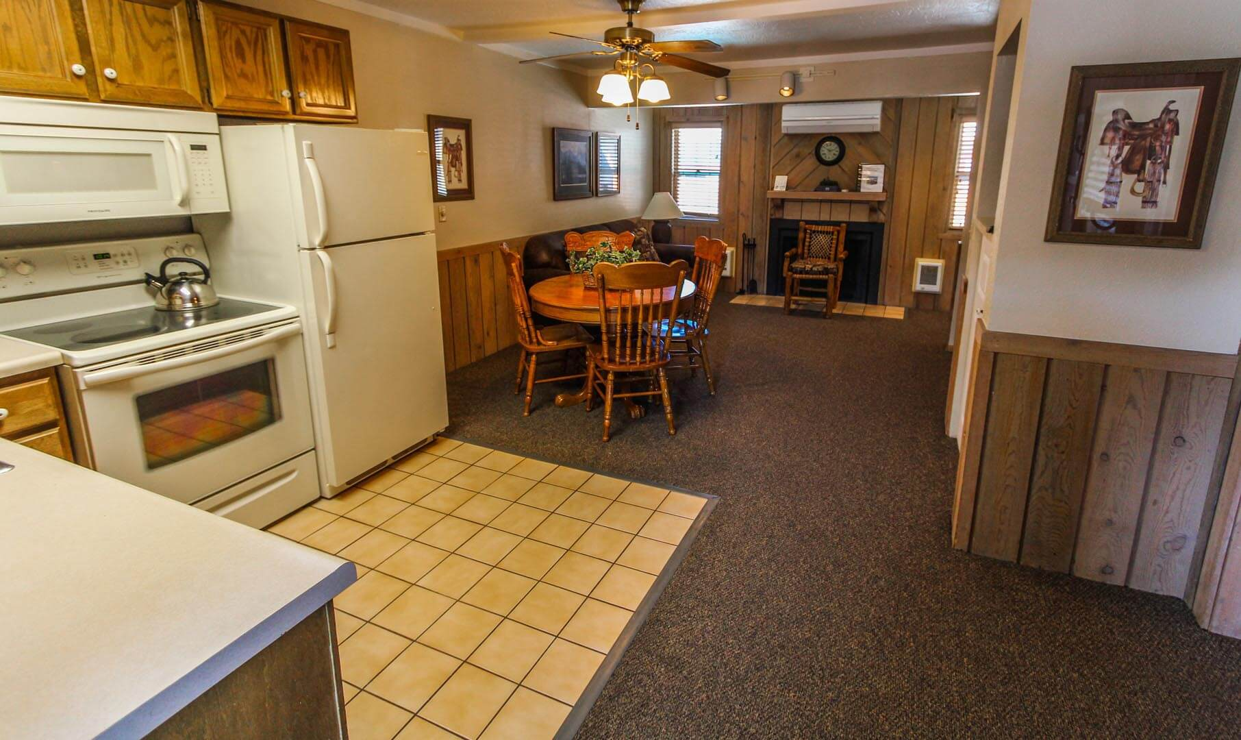 A fully equipped kitchen at VRI's Jackson Hole Towncenter in Wyoming.