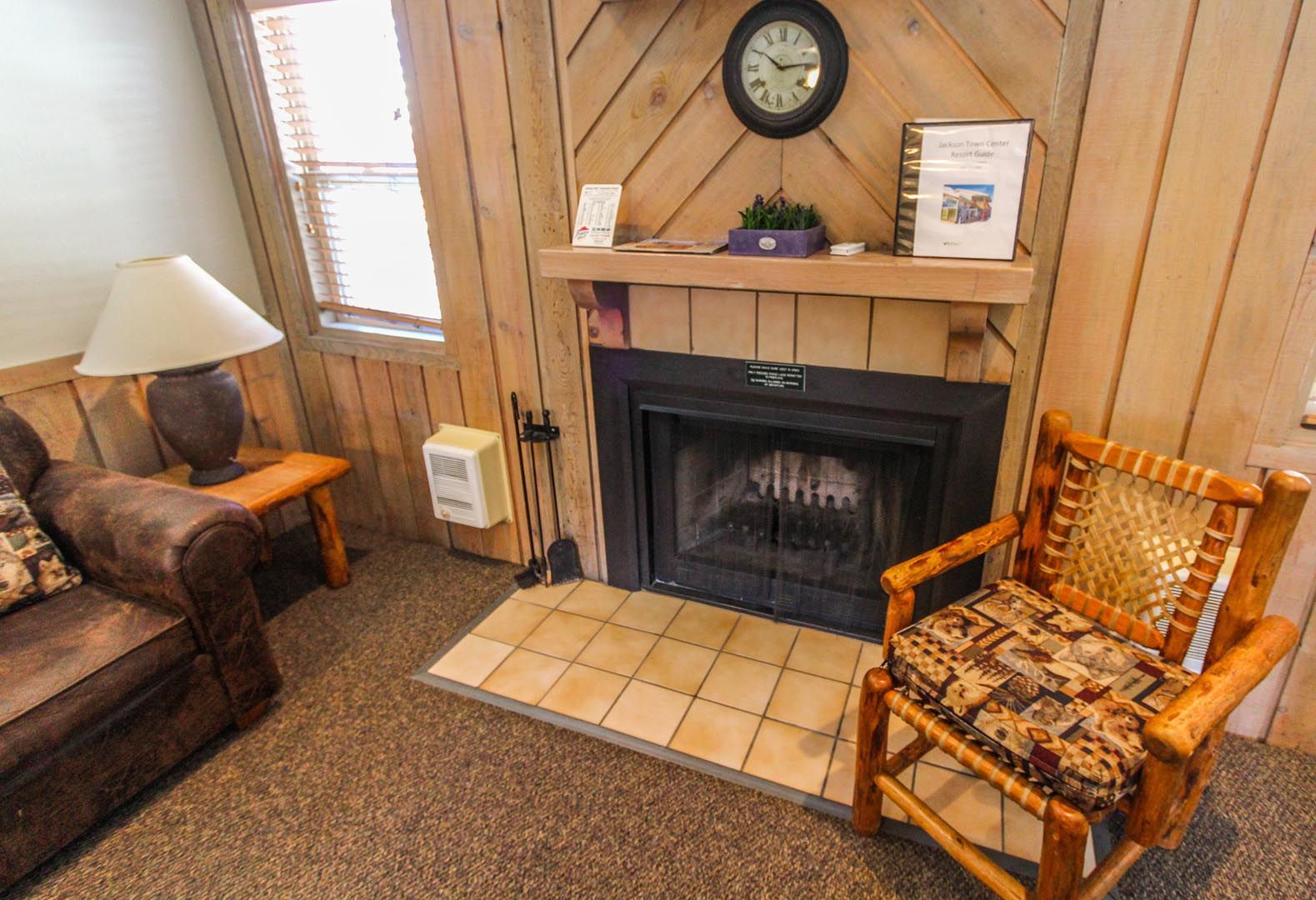 A tranquil living room at VRI's Jackson Hole Towncenter in Wyoming.