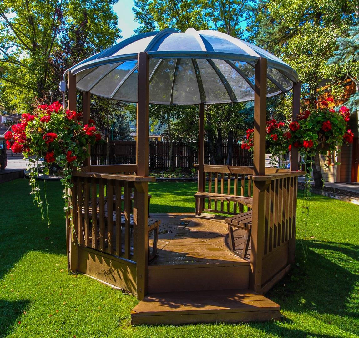 A relaxing outdoor Gazebo at VRI's Jackson Hole Towncenter in Wyoming.