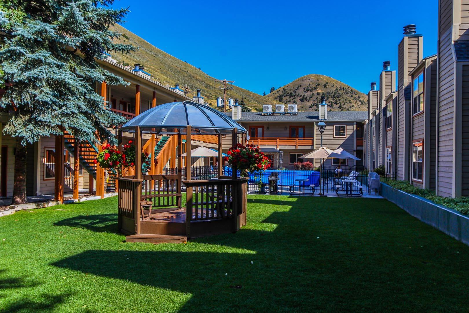 The exterior building and Gazebo at VRI's Jackson Hole Towncenter in Wyoming.