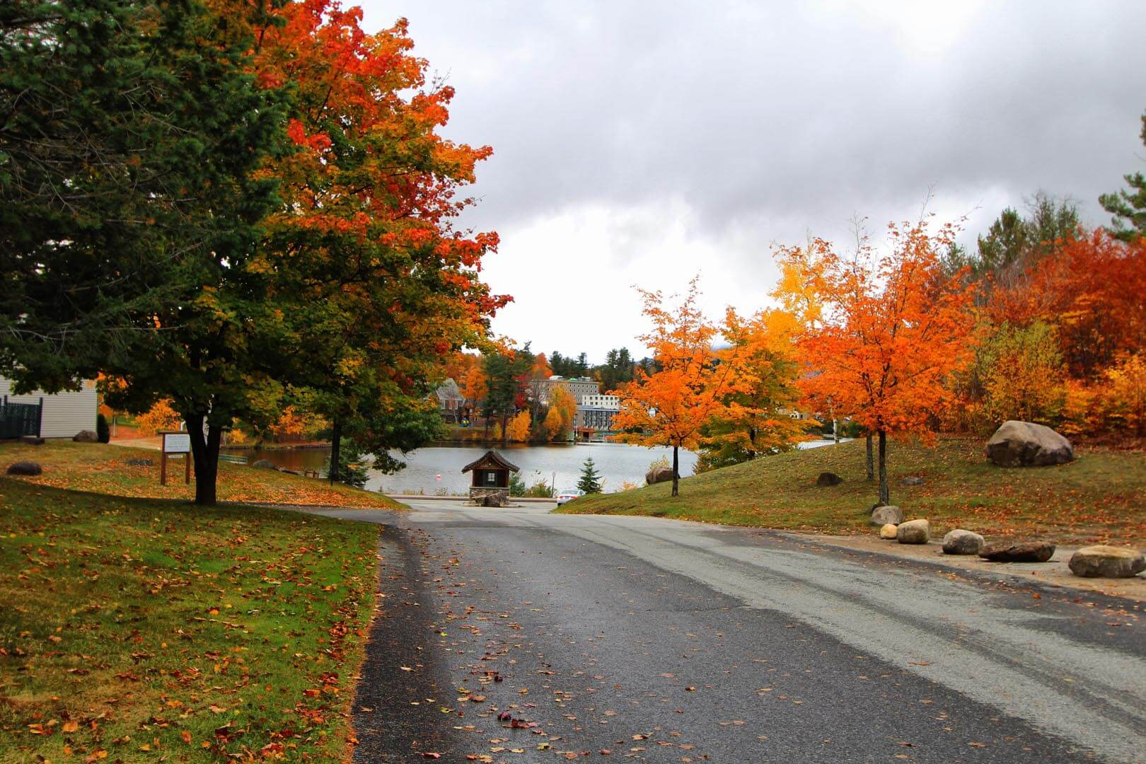 A scenic view of the turning leaves at VRI's Lake Placid Club Lodges in New York.