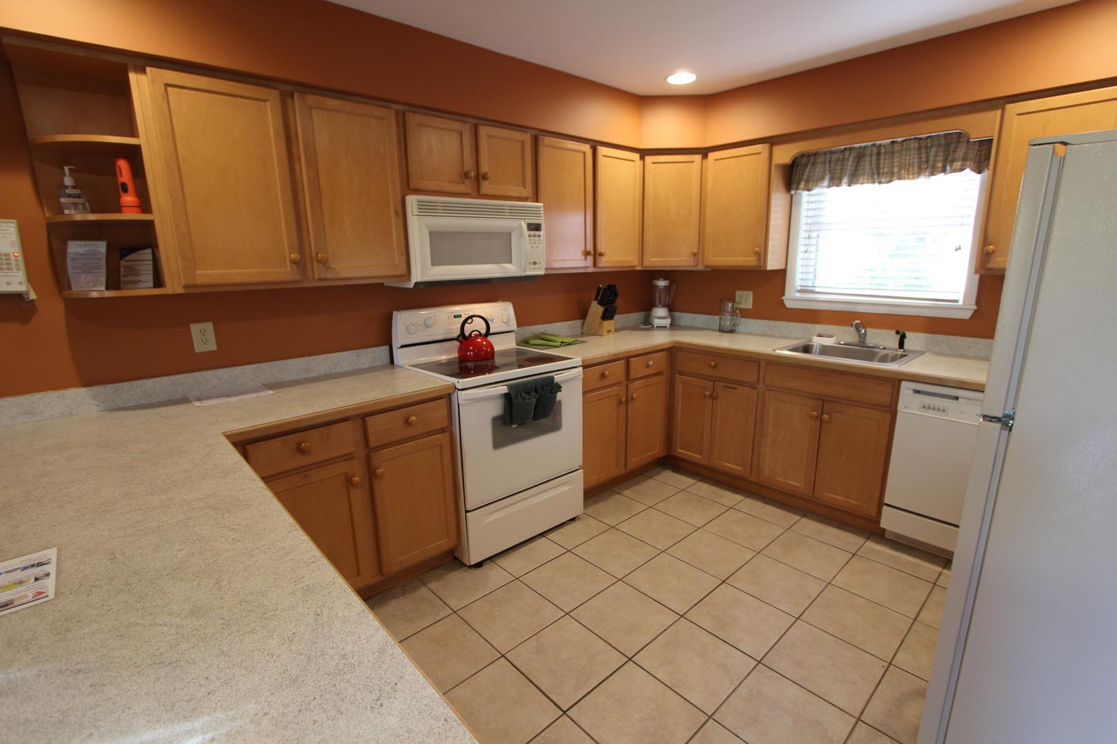 A spacious kitchen at VRI's Lake Placid Club Lodges in New York.