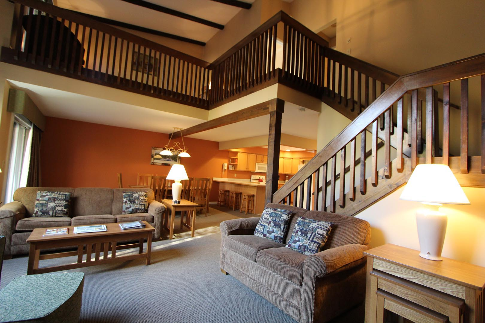 A interior view of the two story unit at VRI's Lake Placid Club Lodges in New York.
