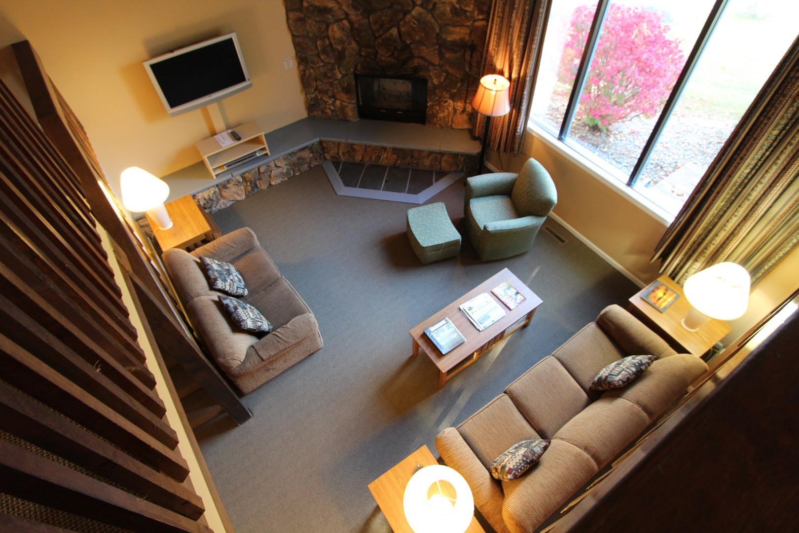 A spacious living room area at VRI's Lake Placid Club Lodges in New York.