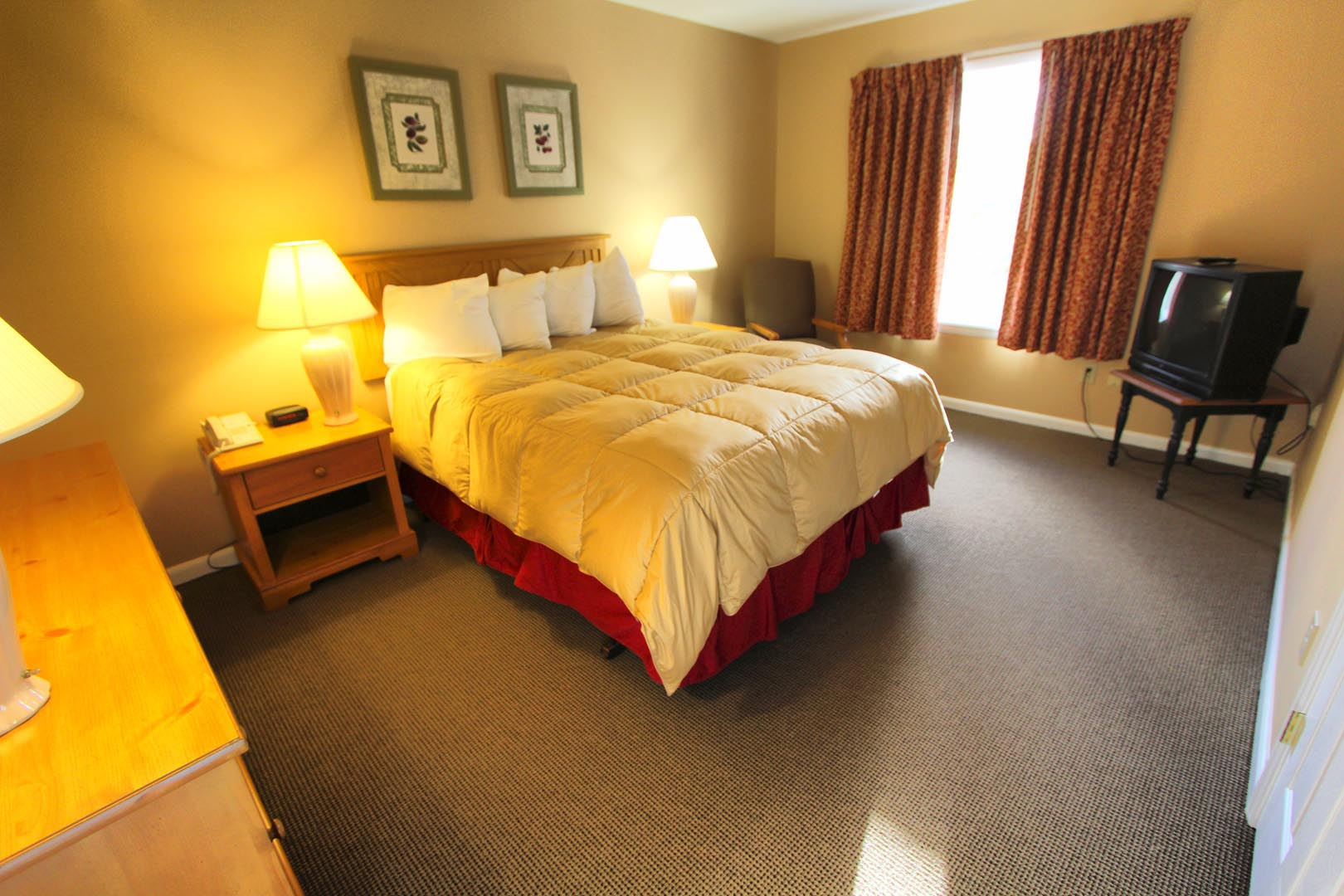 A spacious bedroom at VRI's Lake Placid Club Lodges in New York.