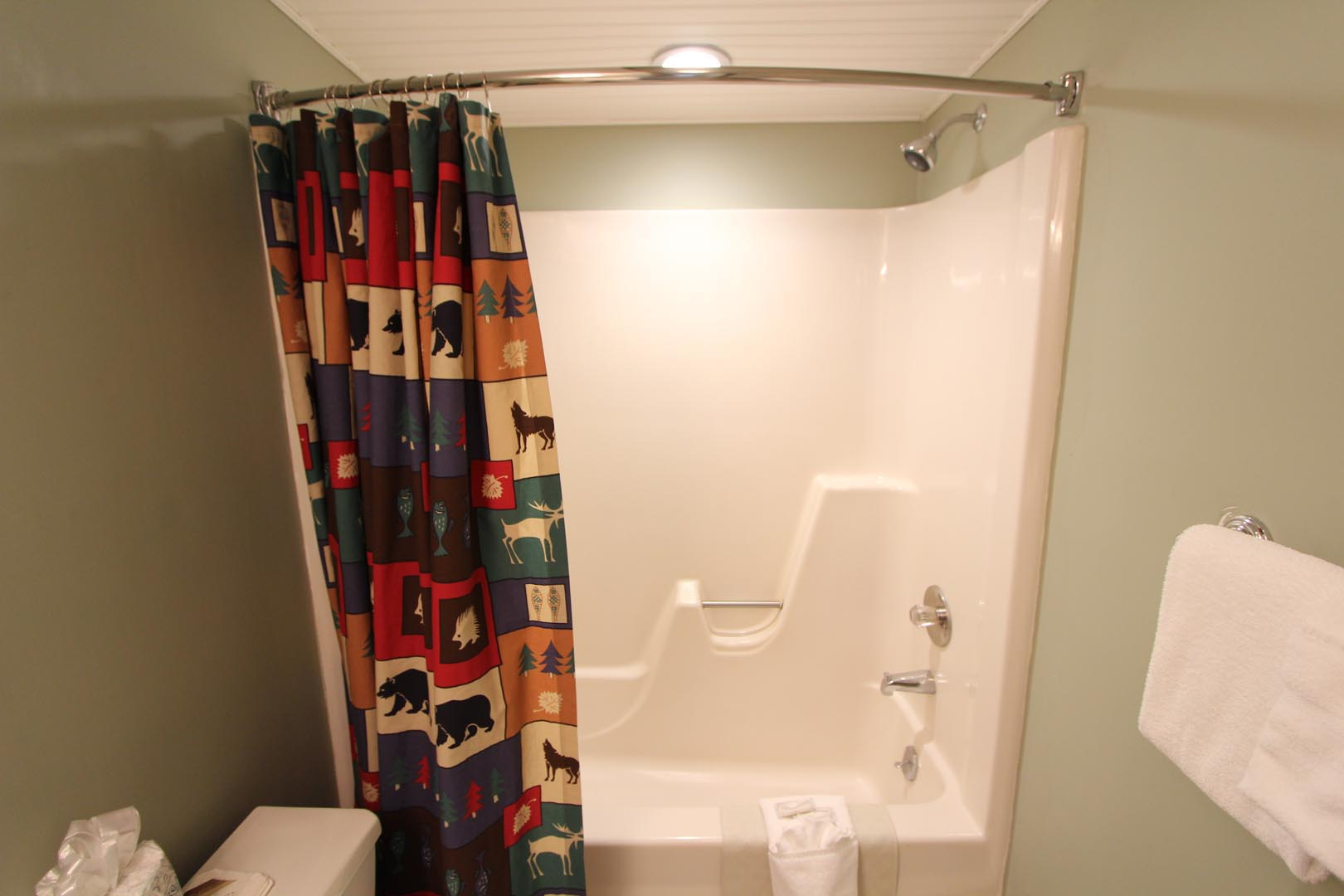 A clean bathroom at VRI's Lake Placid Club Lodges in New York.