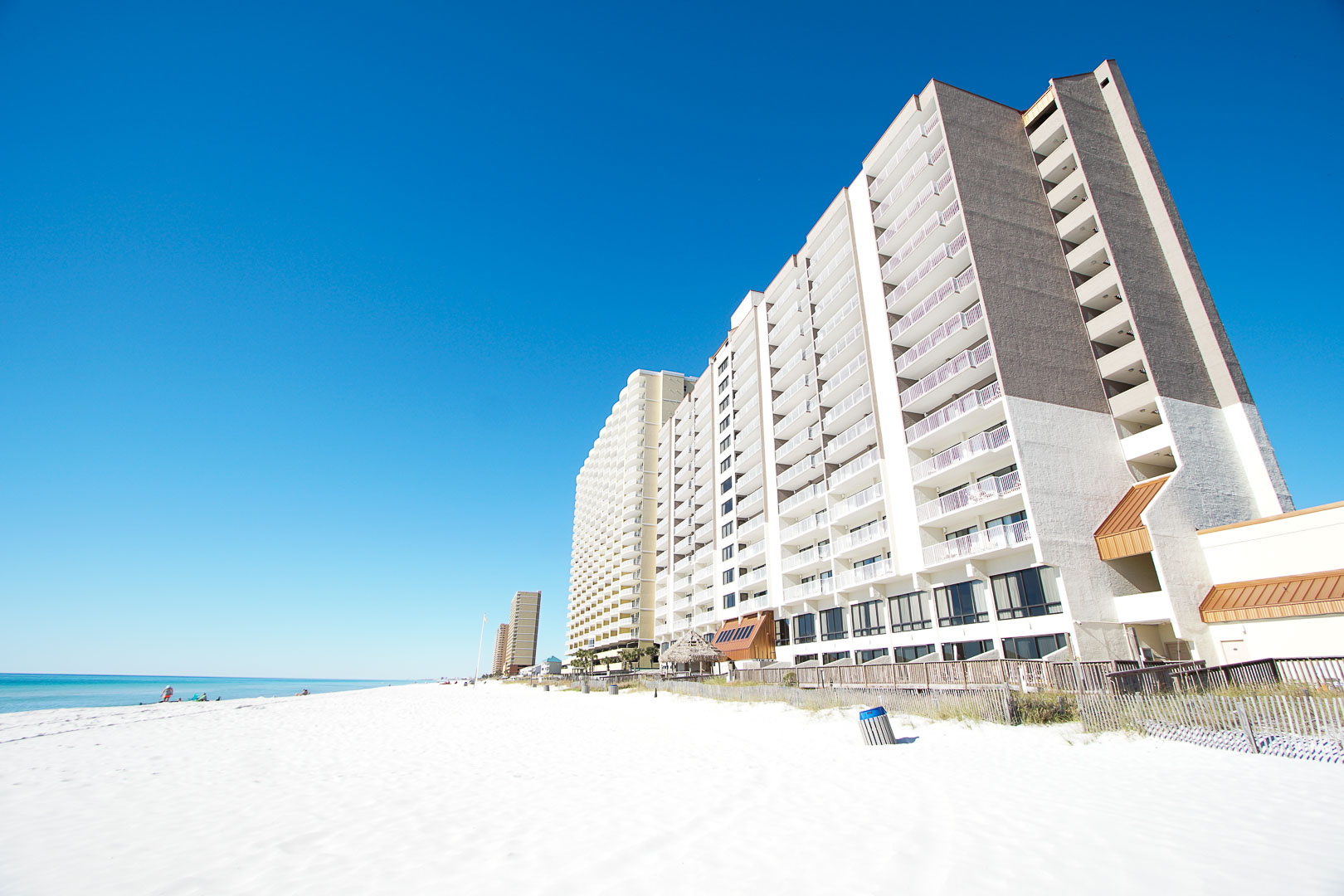 A scenic view from the beach of VRI's Landmark Holiday Beach Resort in Panama City, Florida.
