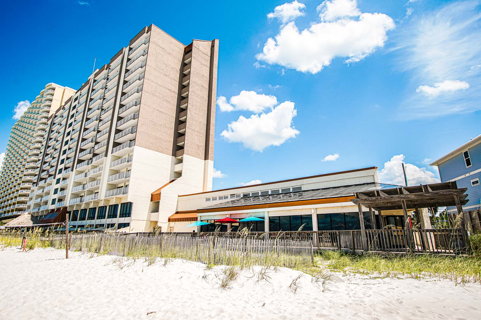 An exterior view of VRI's Landmark Holiday Beach Resort in Panama City, Florida.