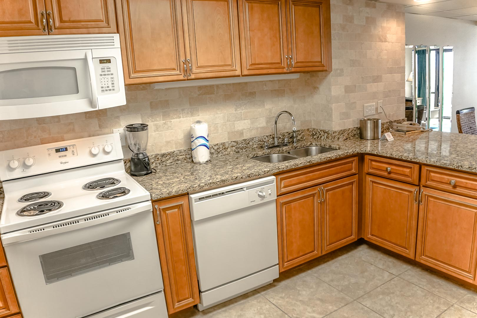 A renovated kitchen at VRI's Landmark Holiday Beach Resort in Panama City, Florida.